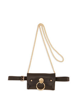 Metallic O Ring Convertible Crossbody Bag - 1126074392022