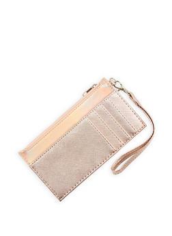 Faux Saffiano Leather Wristlet - 1126074397794