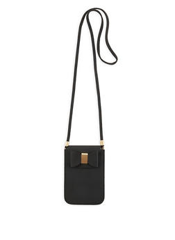Textured Faux Leather Crossbody Bag with Bow - 1126074397843