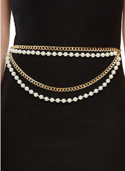 Faux Pearl Chain Belt - 1128018430391