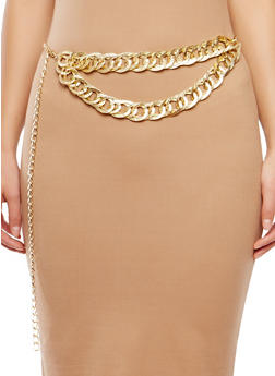 Plus Size Hammered Chain Link Belt - 1128018431914