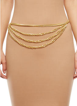 Plus Size Layered Chain Belt - 1128018432215