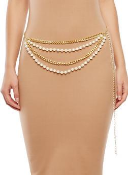 Plus Size Faux Pearl Chain Belt - 1128018437193