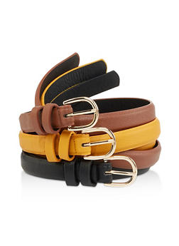 Skinny Faux Leather Belt Trio - 1128061591598