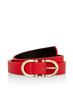 Plus Size Double Buckle Faux Leather Belt - 1128061595990