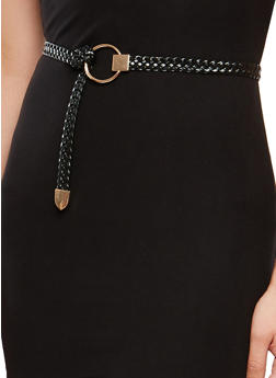 Braided Faux Leather Loop Belt - 1128073330090