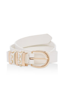 Faux Pearl Detail Skinny Belt - 1128073330811