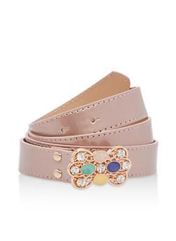 Plus Size Jeweled Buckle Faux Leather Belt - 1128073330828