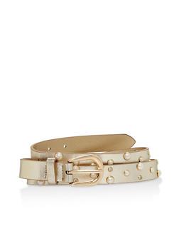 Faux Pearl Rhinestone Studded Skinny Belt - 1128073331008