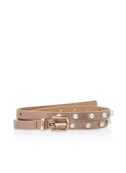 Faux Pearl Studded Skinny Belt - 1128073331108