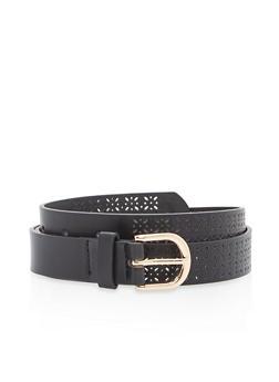 Laser Cut Faux Leather Belt - 1128073331909