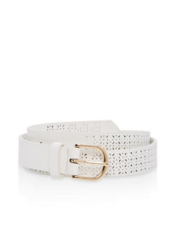 Laser Cut Faux Leather Belt - 1128073331909