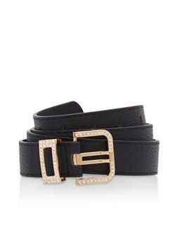 Plus Size Textured Faux Leather Rhinestone Buckle Belt - 1128073332508