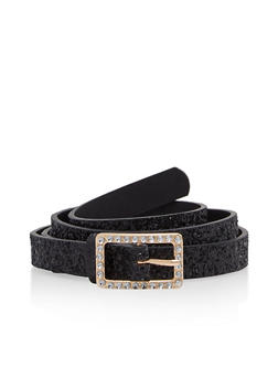 Faux Leather Skinny Belt with Rhinestone Buckle - 1128073336480