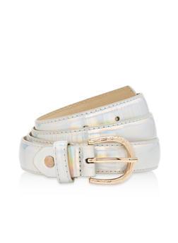Skinny Belt with Laser Cut Metallic Buckle - 1128073337640