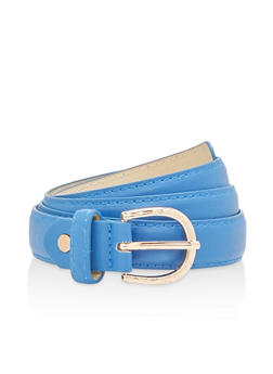 Skinny Belt with Laser Cut Metallic Buckle - 1128073337640