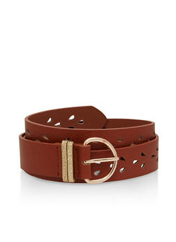 Faux Leather Perforated Belt - 1128073337700