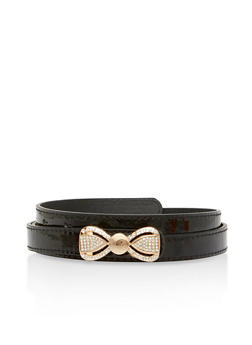 Faux Leather Rhinestone Bow Buckle Belt - 1128073338009