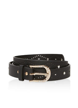 Perforated Faux Leather Belt - 1128073338017