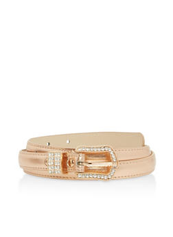 Faux Leather Skinny Rhinestone Belt - 1128073338021
