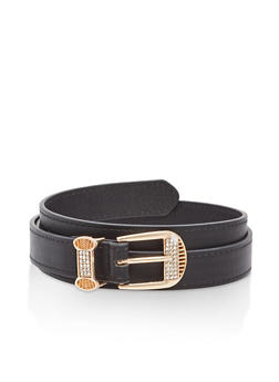 Rhinestone Loop Faux Leather Belt - 1128073338028