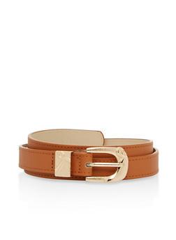Metallic Buckle Faux Leather Skinny Belt - 1128073338033