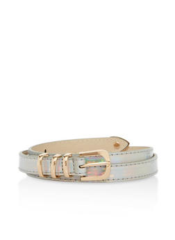 Holographic Metallic Accent Skinny Belt - 1128073338038