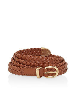 Braided Skinny Belt - 1128073339005