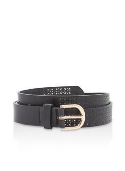 Plus Size Laser Cut Faux Leather Belt - 1128073339091