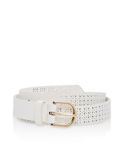 Plus Size Laser Cut Faux Leather Belt - 1128073339091