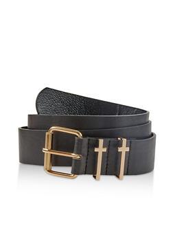 Cross Loop Faux Leather Belt - 1128074392040