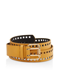 Plus Size Faux Leather Perforated Belt - 1128074392205