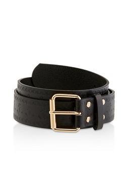 Plus Size Anchor Embossed Faux Leather Belt - 1128074392472