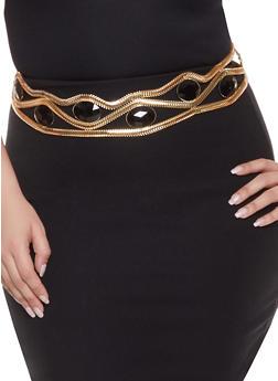 Plus Size Jeweled Metallic Belt - 1128074392714