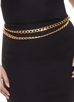 Plus Size Layered Curb Chain Belt - 1128074392715