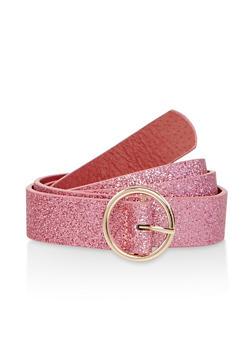 Glitter Faux Leather Belt - 1128074392731
