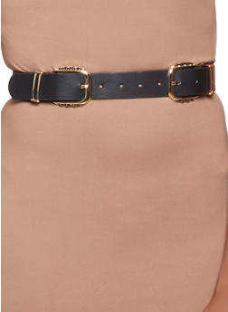 Metallic Double Buckle Belt - 1128074392736