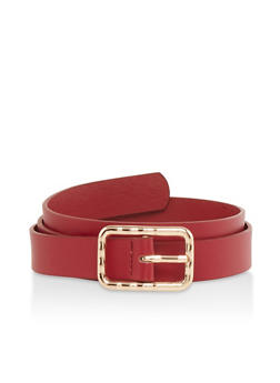Square Buckle Faux Leather Belt - 1128074392742