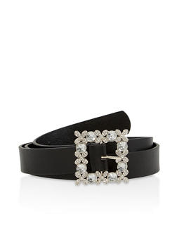 Rhinestone Square Buckle Faux Leather Belt - 1128074392745