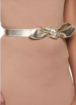 Knotted Bow Faux Leather Belt - 1128074392773
