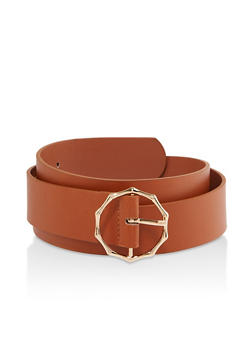 Plus Size Metallic Bamboo Buckle Belt - 1128074392785
