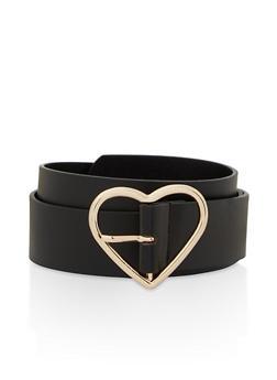 Plus Size Heart Buckle Faux Leather Belt - 1128074392801