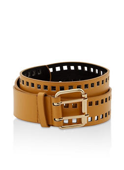 Perforated Faux Leather Belt - 1128074392802