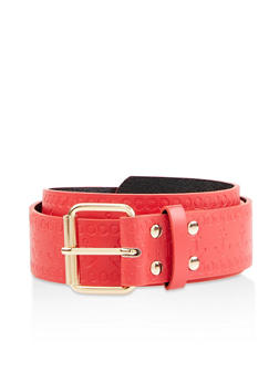 Anchor Embossed Faux Leather Belt - 1128074394725