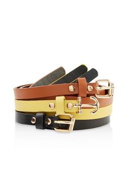 Set of 3 Anchor Buckle Skinny Belts - 1128074397183