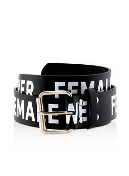 Female Power Faux Leather Belt - Black - Size L - 1128074397824