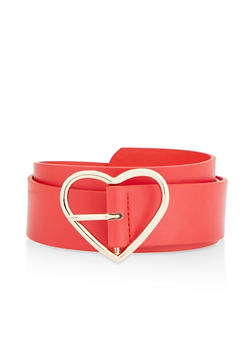 Heart Buckle Faux Leather Belt - 1128074398013