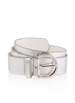 Chevron Embossed Faux Leather Belt - 1128074398541