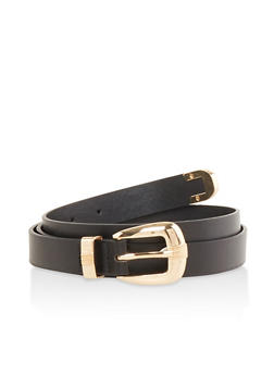 Faux Leather Skinny Belt - Black - Size M - 1128074500006