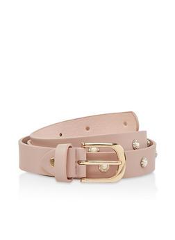 Faux Pearl Studded Belt - 1128074500084
